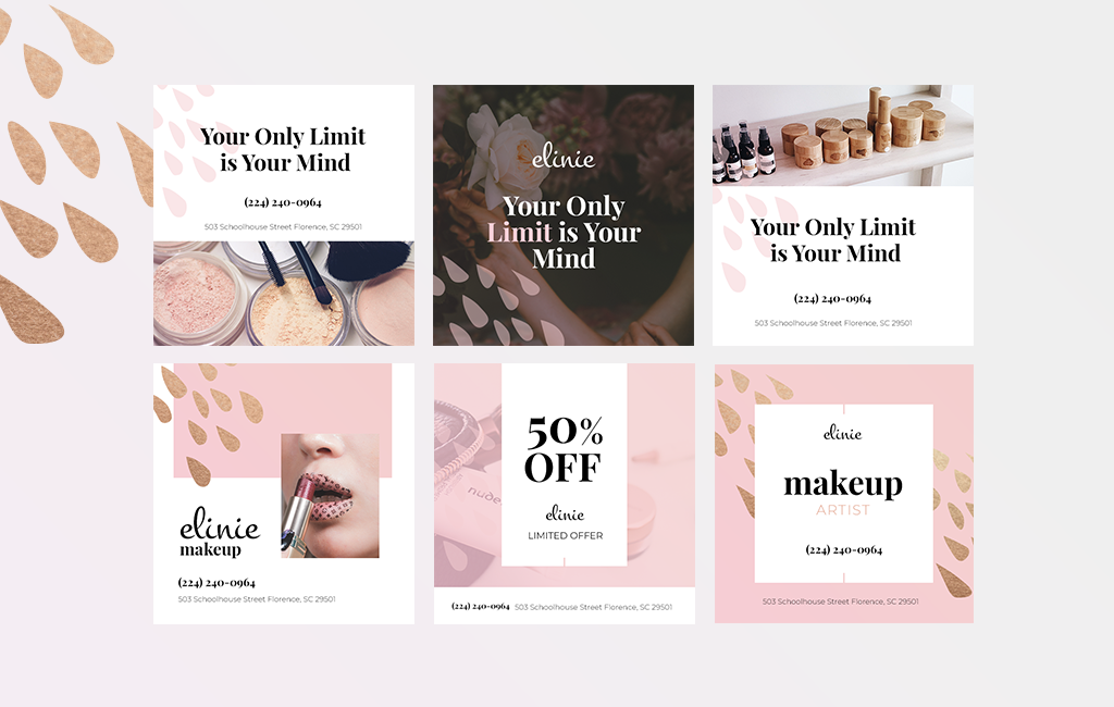 Elinie Beauty Instagram Post Template Psd Mockups For Free