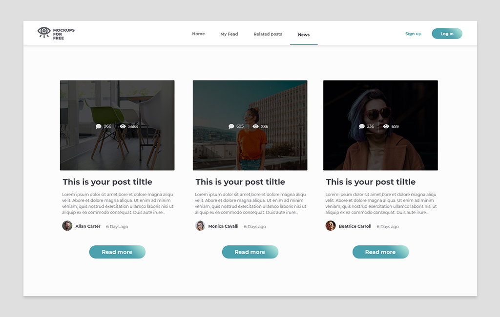 Ui Kit - 9 Blog Grid Layouts   Single Post Page