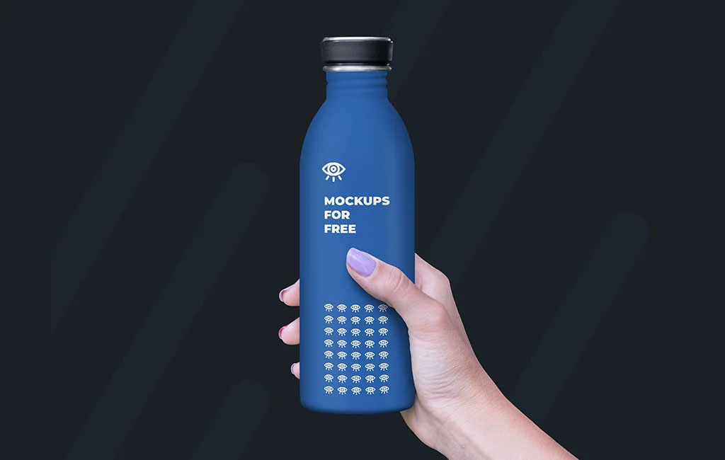 Plastic Bottle in Hand mockup