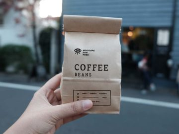 Coffee Beans Craft Paper Bags Mockups