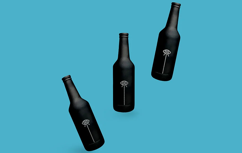 Black Bottle With Silver Texture Mockup